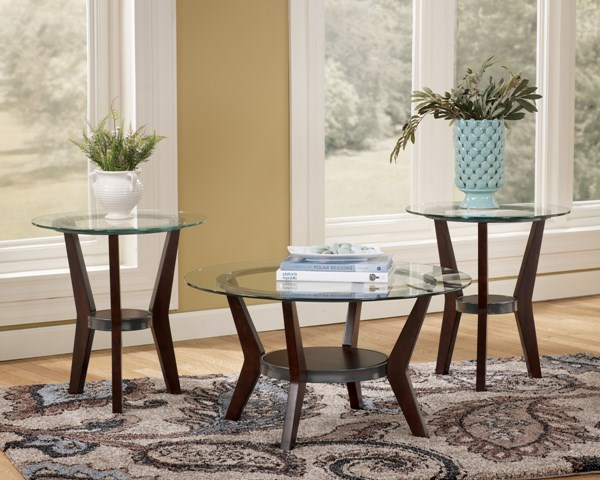 3 Fantell Contemporary Dark Brown Wood Glass Occasional Table Sets T210-13