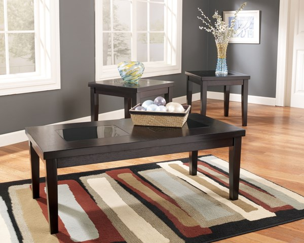 3 Denja Contemporary Dark Brown Wood Glass Occasional Table Sets T281-13