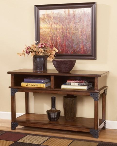 Murphy Traditional Brown Wood Sofa Console Table T352-4