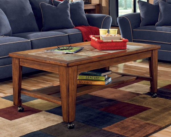 Toscana Traditional Rich Warm Wood Tiles Cocktail Table T353-0