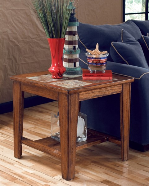 Toscana Traditional Rich Warm Wood Tiles End Table T353-2