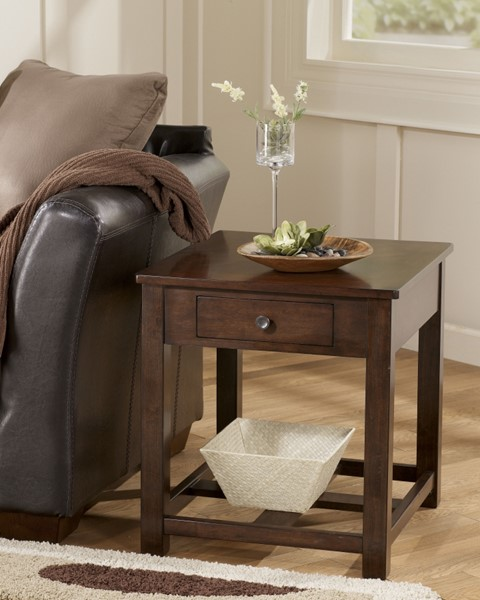 Marion Contemporary Dark Brown Solid Wood End Table T477-3