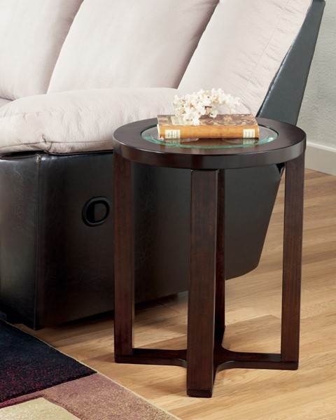 Marion Contemporary Dark Brown Wood Glass Round End Table T477-6