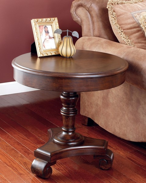 Brookfield Traditional Dark Rustic Wood Round End Table T496-6