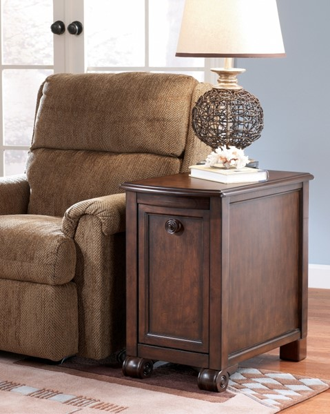 Brookfield Traditional Dark Rustic Wood Chairside End Table T496-7