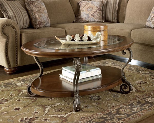 Nestor Traditional Brown Glass Wood Metal Oval 3pc Coffee Table Set T517-S2
