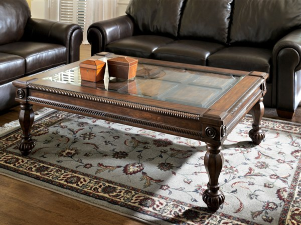 Mantera Traditional Dark Rustic Brown Wood Glass Coffee Table Set T616
