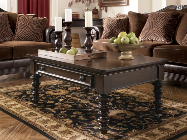 Key Town Traditional Dark Brown Wood Cocktail Table T668-1