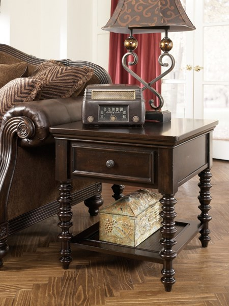 Key Town Traditional Dark Brown Wood End Table T668-3