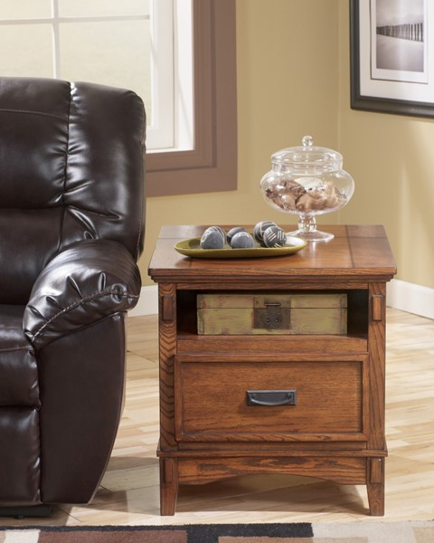 Cross Island Traditional Med Brown Oak Wood Square End Table T719-3