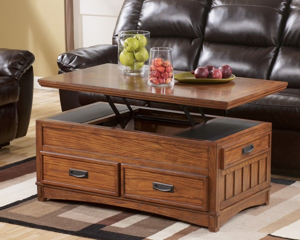 Cross Island Traditional Brown Oak Wood Lift Top Cocktail Table T719