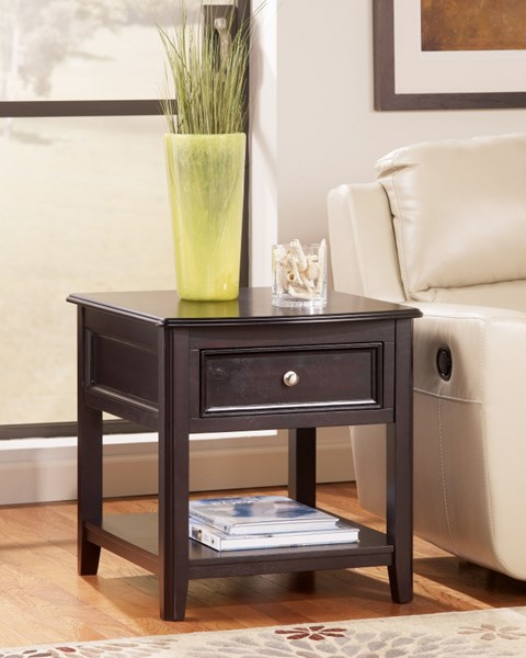 Carlyle Contemporary Black Solid Wood End Table T771-3
