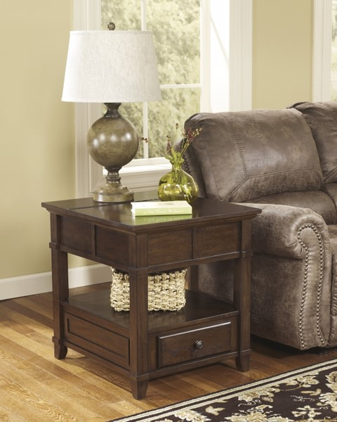 Gately Cottage Medium Brown Wood End Table W/Storage T845-3
