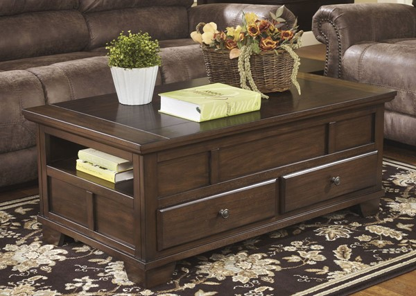 Ashley Furniture Gately Brown Lift Top Cocktail Table T845-9