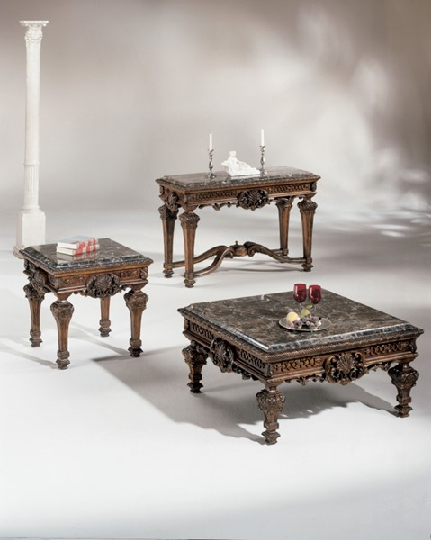 Casa Mollino Traditional Dark Brown Wood Stone 3pc Coffee Table Set T953-S1