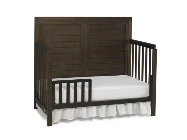 TiAmo Castello Weathered Brown Toddler Bed with Guard Rail TMO-148004-189936-52