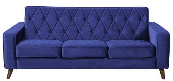 Bowery Navy Brown Velvet Removable Seat Cushions Sofa TOV-183-15