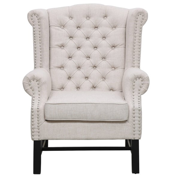 Fairfield Elegant Beige Mixed Linen Black Birch Legs Club Chair TOV-63102-Beige