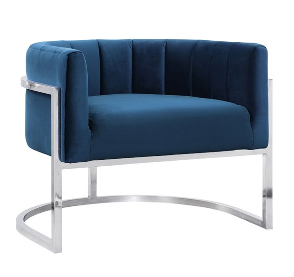 TOV Furniture Magnolia Navy Chair with Silver Base TOV-A148