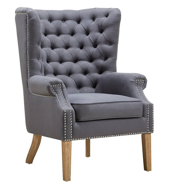 Abe Classic Grey Linen Natural Oak Wood Legs Wing Chair TOV-A2040