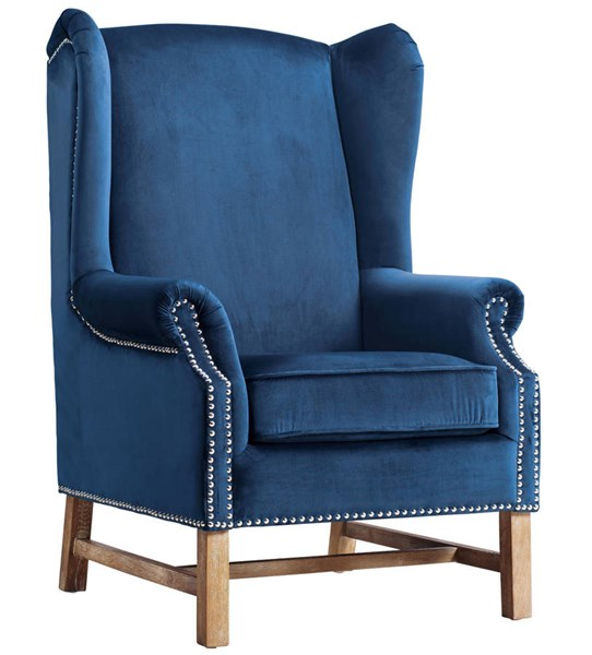 Nora Navy Velvet Natural Oak Legs Removable Seat Cushions Chair TOV-A2042
