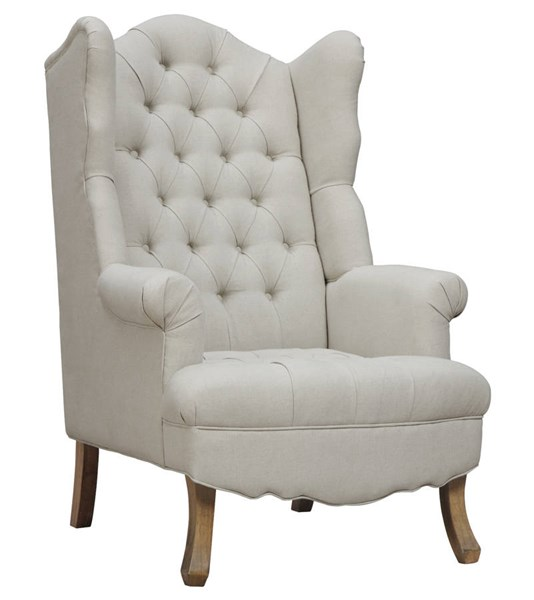 Madison Beige Linen Weathered Oak Wood Tufted Seat Wing Chair TOV-A35-Beige