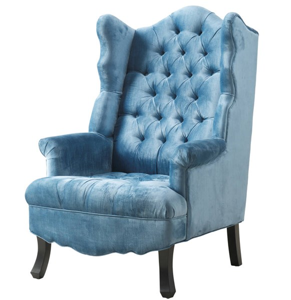 Madison Blue Velvet Dark Brown Wood Tufted Seat Wing Chair TOV-A35-Blue