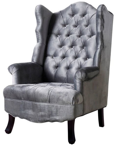 Madison Grey Velvet Black Wood Tufted Seat Wing Chair TOV-A35-Grey