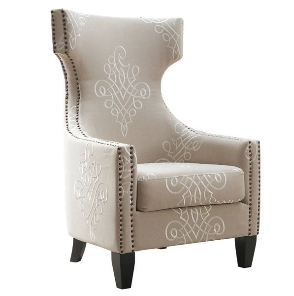 Gramercy Beige Embroidered Linen Black Birch Legs Wing Chair TOV-A36