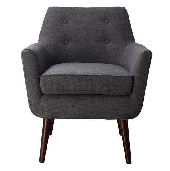 Clyde Classic Grey Linen Brown Beech Legs Accent Chair TOV-A38-G