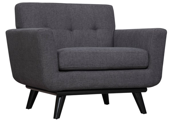 James Grey Linen Black Birch Legs Tufted Accent Chair TOV-A53
