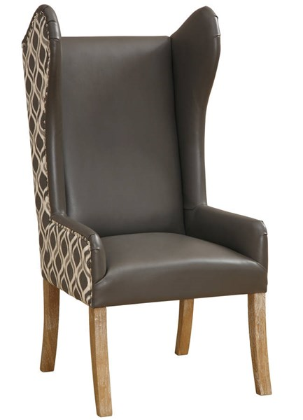 Lund Grey Fabric Bonded Leather Weathered Oak Legs Arm Chair TOV-AC09