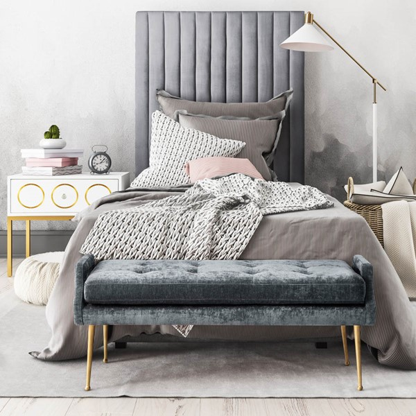 TOV Furniture Arabelle Grey 3pc Twin Bedroom Set with Bench TOV-B126-G5493-OC164