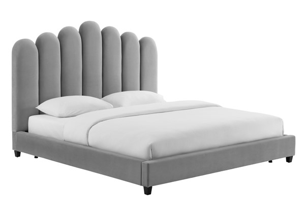 TOV Furniture Celine Grey Velvet King Bed TOV-B6313