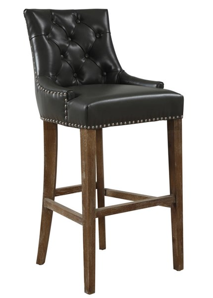 Uptown Contemporary Grey Bonded Leather Weathered Oak Wood Barstool TOV-BS-07