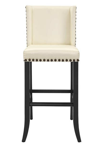Denver Cream Eco Leather Dark Brown Birch Legs Bar Stool TOV-BS15