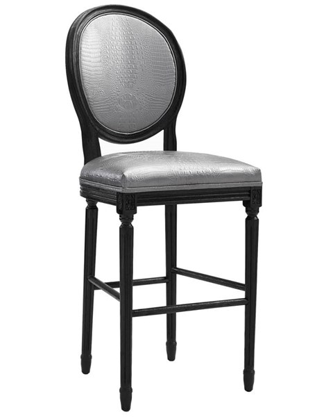 Philip Contemporary Silver Eco Leather Black Oak Legs Croc Barstool TOV-BS8