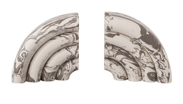 2 TOV Furniture Grey Marble Bookends TOV-C18335