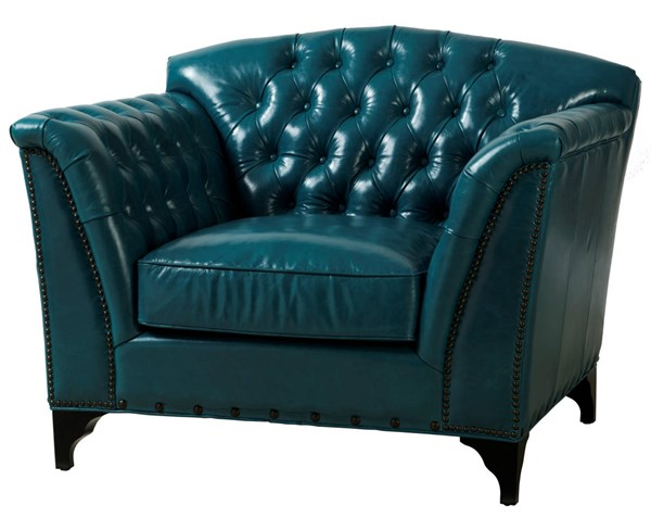 Peacock Classic Dark Turquoise Grain Leather Black Wood Club Chair TOV-C37