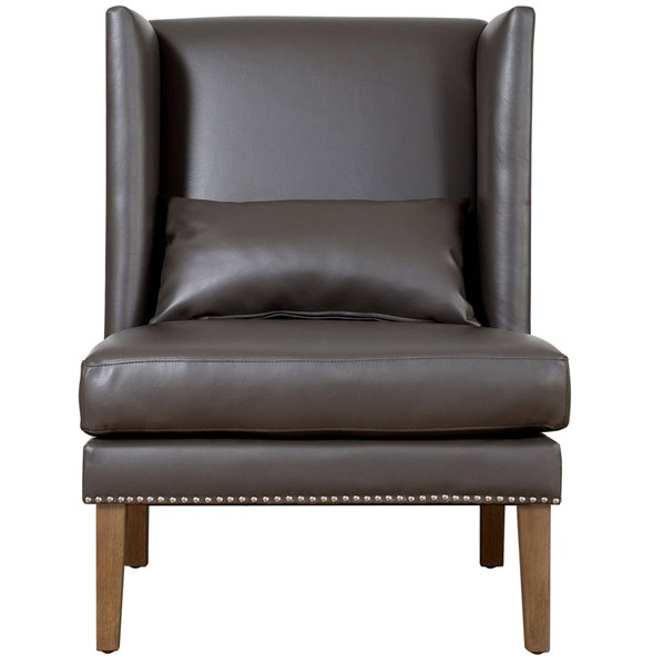 Chelsea Traditional Grey Bonded Leather Natural Wood Wing Chair TOV-CHE-GBL