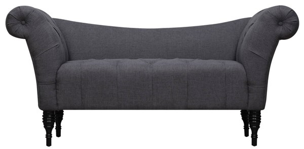Shev Grey Linen Wood Legs Tufted Seat Settee TOV-CL10