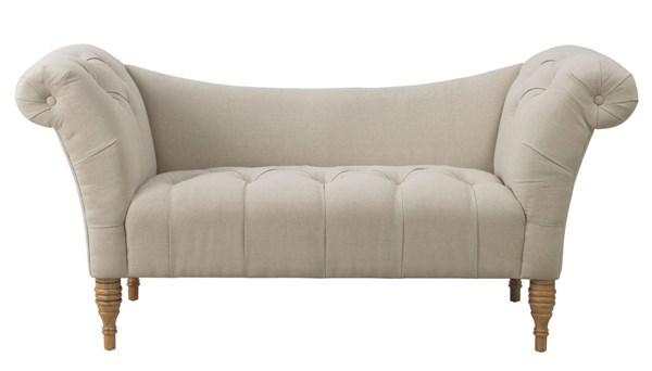Shev Beige Linen Natural Wood Legs Tufted Seat Settee TOV-CL8