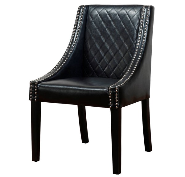 Lenox Contemporary Black Bonded Leather Birch Legs Dining Chair TOV-D20