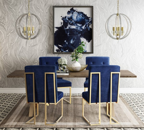 Dining Out In Your New Navy Blue Dining Room: TOV Furniture Leah Brown Navy Gold 5pc Dining Room Set