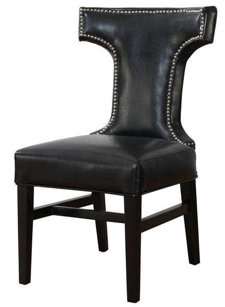 2 Tee Black Bonded Leather Wood Legs Dining Chairs TOV-D24