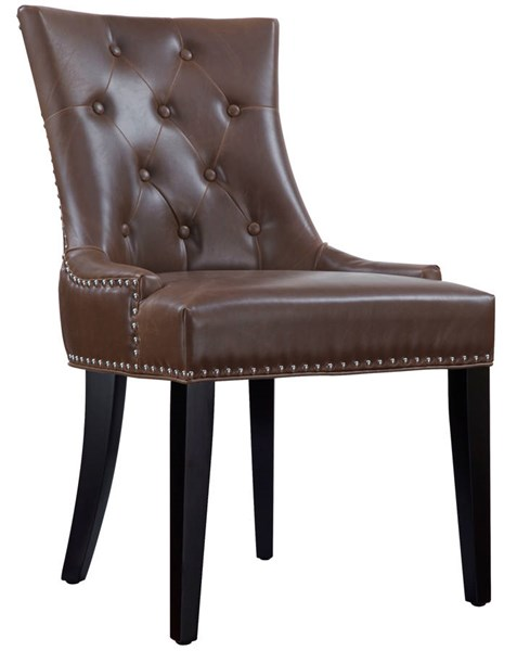 Uptown Contemporary Brown Cream Bonded Leather Birch Dining Chairs TOV-D28-29-30-DC-VAR