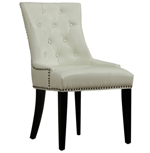 Uptown Contemporary Cream Bonded Leather Black Birch Dining Chair TOV-D29