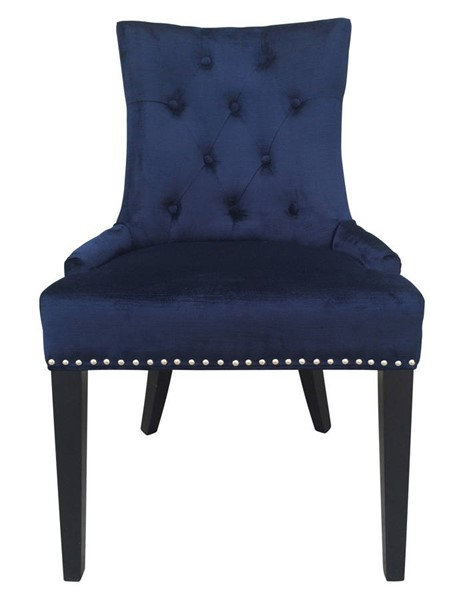 Uptown Navy Velvet Black Birch Nail Head Trim Dining Chair TOV-D30