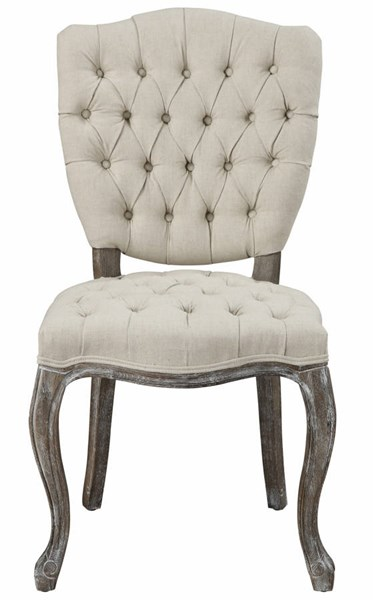 2 Amelia Rustic Beige Linen Weathered Oak Dining Chairs TOV-D31