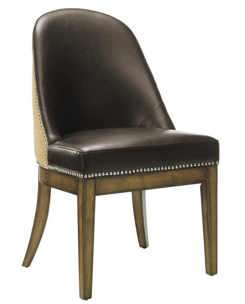 Asher Black Leather Brown Birch Legs Dining Chair TOV-D36